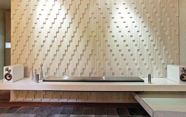 Nietypowa dekoracja ściany z paneli 3D, fot.: Loczidesign