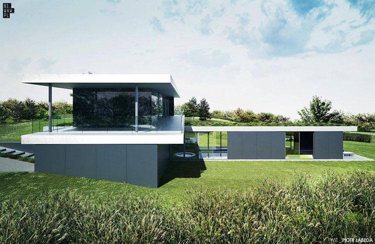 Dom Pawilon - dom na działce o zróżnicowanym ukształtowaniu terenu
